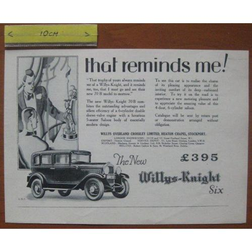 Reclame (1929) Willys Knight Six, Willys Overland, c#27558