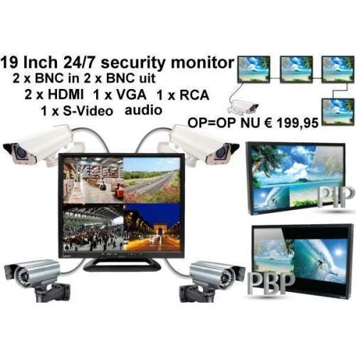 19 inch security monitor 2 x BNC 2 x HDMI,VGA,RCA en Svideo