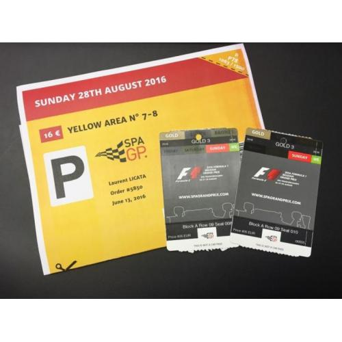 2 tickets GOLD3 - Formule 1 Spa-Francorchamps 28/8