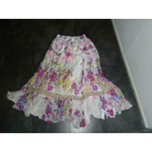 Made in India Ibiza Gebloemde Katoen Maxi Lang Rok mt M/L
