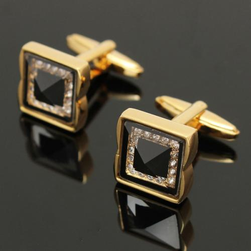 Vintage Square Golden Copper Cufflinks Men Business Wedding party Shirt Crystal Sleeve Nail