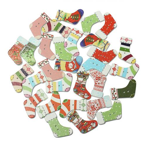 30PCS Christmas Stocking Shape Wooden Buttons Scrapbook Sew Card